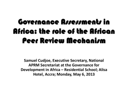 Governance Assessments in Africa: the role of the African