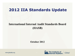 2012 IIA Standards Update PowerPoint Presentation