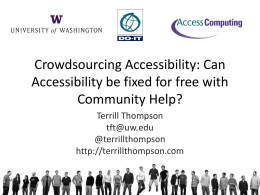 Crowdsourcing Accessibility: Can Accessibility be fixed