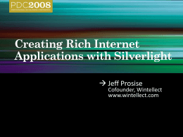 PRE05: Creating Rich Internet Applications with Silverlight