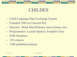 CHILDES - Brian MacWhinney