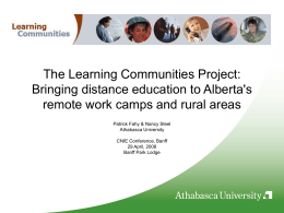 The Learning Communities Project: Bringing distance