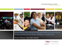 ABLE Instructional and EL/Civics Grant Bidders Conference