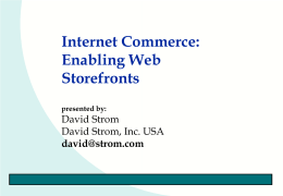 Internet Commerce: Payments and Security