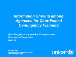 Inter-agency coordination for early warning systems