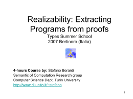 Realizability: Extracting Programs from proofs Summer