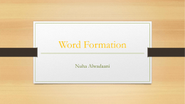 Word Formation - SchoolRack.com