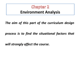 Chapter 2 Environment Analysis