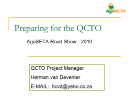 Preparing for the QCTO
