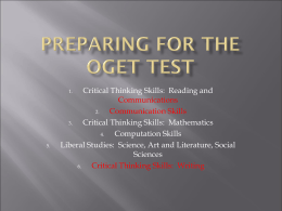 PREPARING FOR THE OGET TEST