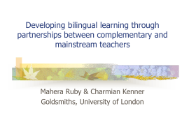 Teacher partnerships between mainstream and …