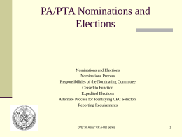 PARENT ASSOCIATION NOMIATIONS AND ELECTIONS …