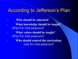 According to Jefferson's Plan