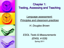 Chapter 1: Testing, Assessing and Teaching