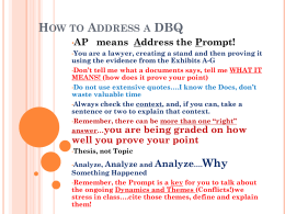 How to Address a DBQ