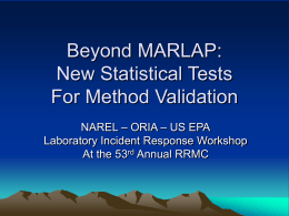 New Statistical Tests for Method Validation