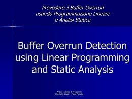 Buffer Overrun Detection using Linear Programming and