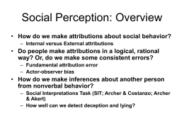Social Perception - University of Massachusetts Amherst
