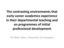 The contrasting environments that early career academics