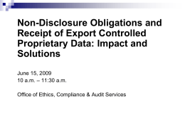 Non-Disclosure Obligations and Receipt of Export