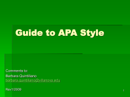 Workshop on APA Style Fall, 2004
