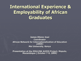 International Experience & Employability of African …
