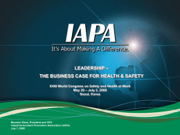 Does Safety Pay? The Importance of Prevention to Social