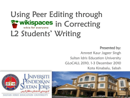 Using Peer Editing through in Correcting L2 Students' Writing