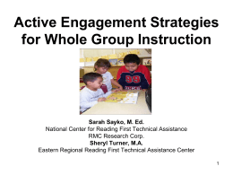 Active Engagement Strategies for Whole Group …