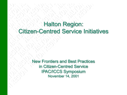 Performance Budgeting at the Region of Halton - ICCS-ISAC