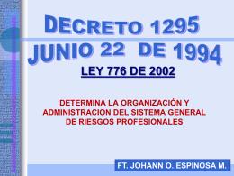 DECRETO 1295 DE JUNIO 27 DE 1994