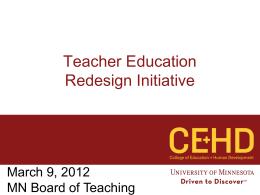 Teacher Education Redesign Initiative