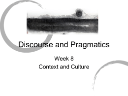 Discourse and Pragmatics - City University of Hong Kong