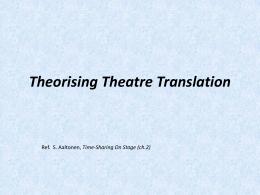 Theorising Theatre Translation