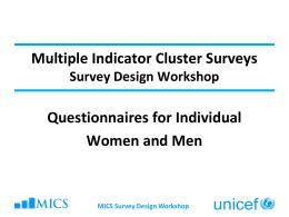 MICS WS1 - UNICEF STATISTICS