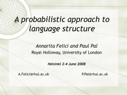 A probabilistic approach to language structure