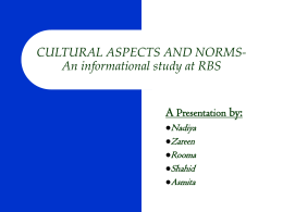 CULTURAL ASPECTS AND NORMS