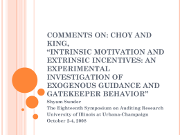"Comments on: Choy and King, ""Intrinsic Motivation and"