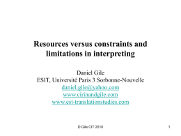 Resources versus constraints and limitations in …