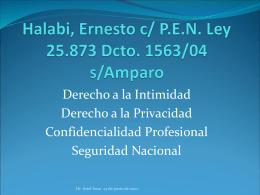 Halabi, Ernesto c/ P.E.N. Ley 25.873 Dcto. 1563/04 s/Amparo