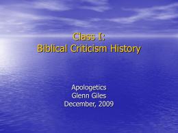 Biblical Criticism: Class I: History