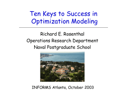 Ten Keys to Success in Optimization Modeling