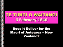 TE TIRITI O WAITANGI - University of Western Sydney