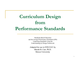 Performance Standards - Teaching with Purpose