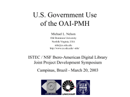 U.S. Government Use of the OAI-PMH