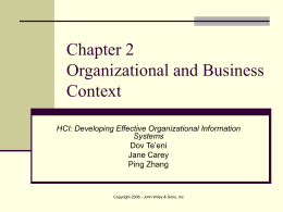 Chapter 2 Organizational and Business Context