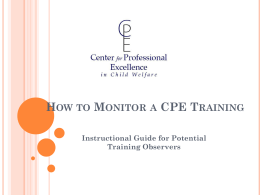 How to Monitor a Training - University of New Hampshire