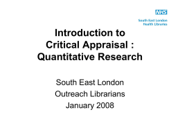 Critical appraisal of quantitative research