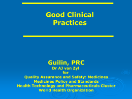Good Clinical Practices - World Health Organization