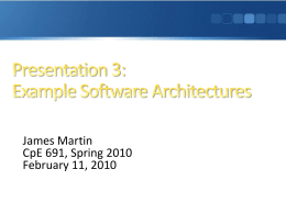 Presentation 3: Example Software Architectures
